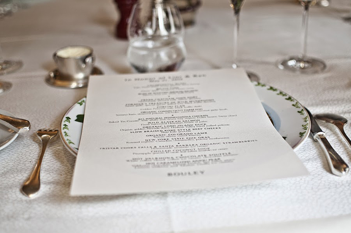 Custom Printed Menu at Bouley