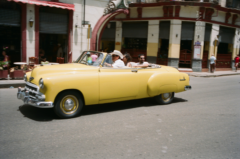 Shooting Real Film, Yellow Convertible, Havana Cuba