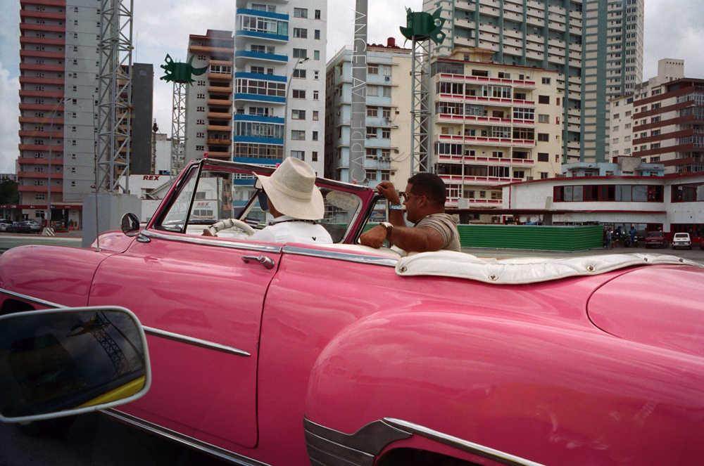 Shooting Real Film, Pink Taxi, Havana Cuba
