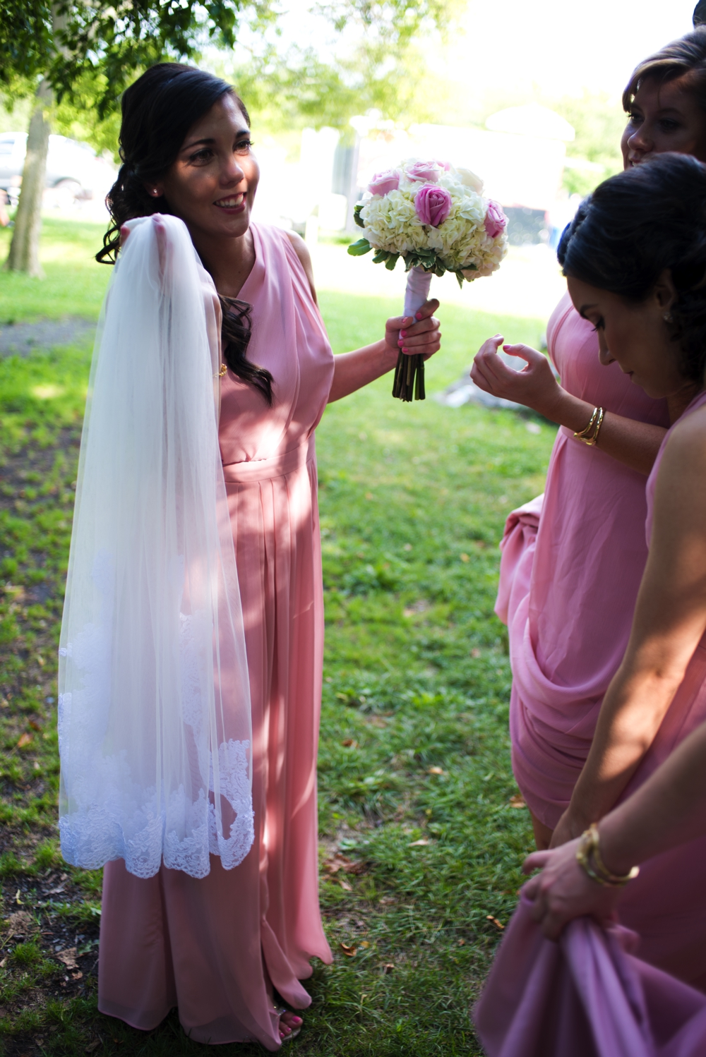 Westchester Country Club Wedding Bridesmaid with Veil