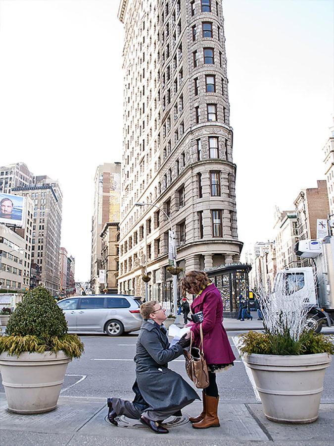 Flat iron proposal shot by NYC proposal photographer Angela Cappetta