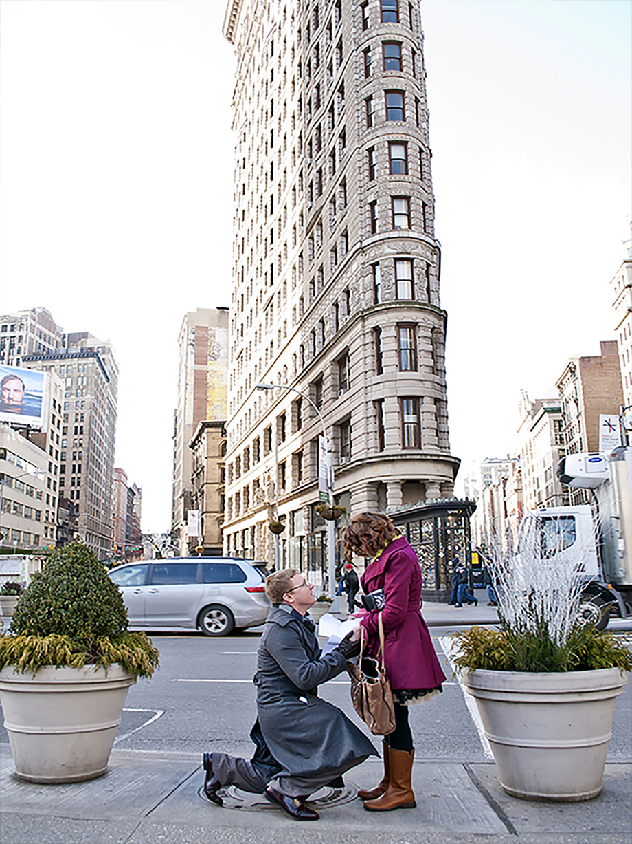 Flat iron proposal shot by NYC proposal photographer Angela Cappetta