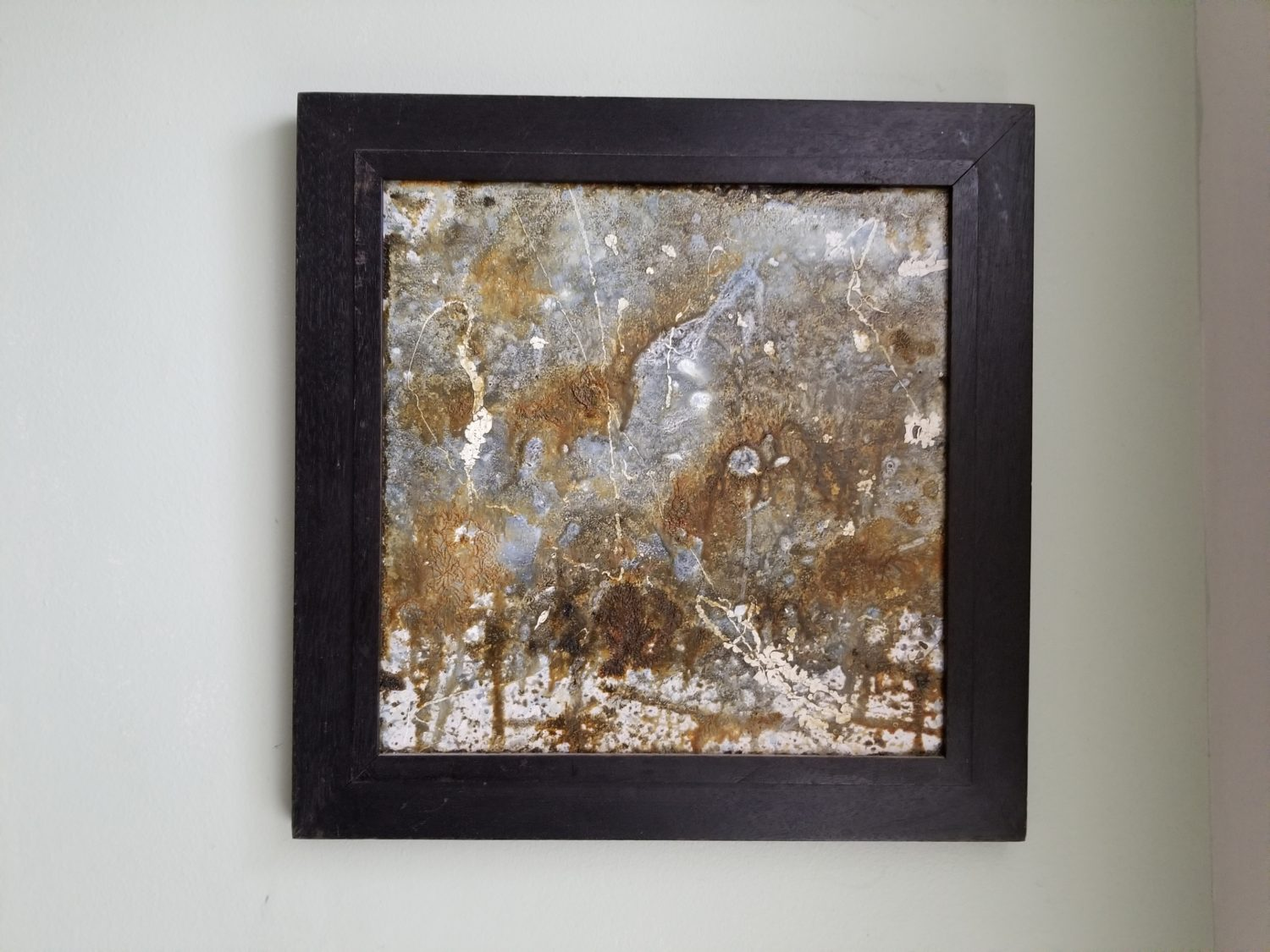 Square landscape oil painting on tile by Jessie Mann