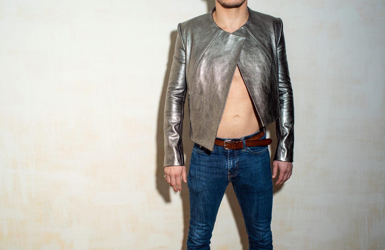 male fashion model wears motorcycle jacket