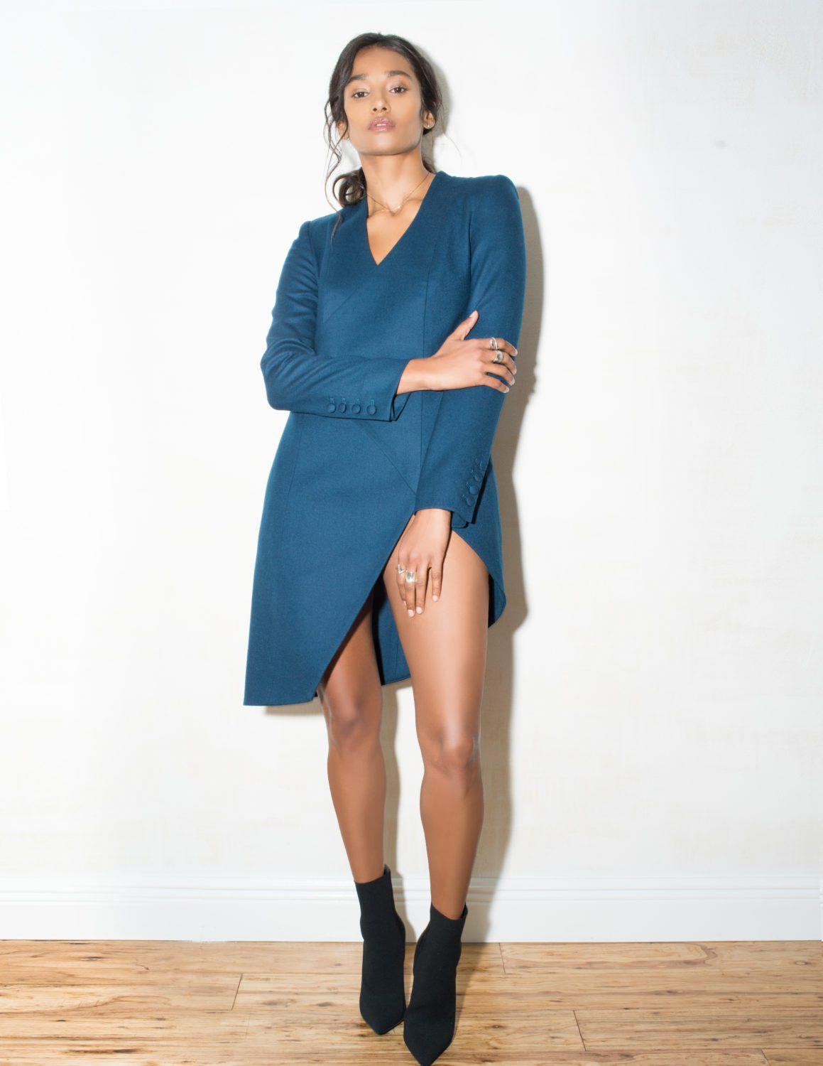 Studio Lookbook MuzziNYC look book teal jacket international model Nidhi