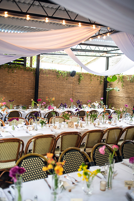 Table settings at a Brooklyn Bistro wedding shot by NYC Wedding photographer Angela Cappetta