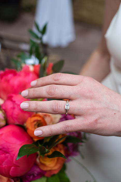 Bride's ring and bouquet at a Brooklyn Bistro wedding shot by NYC Wedding photographer Angela Cappetta