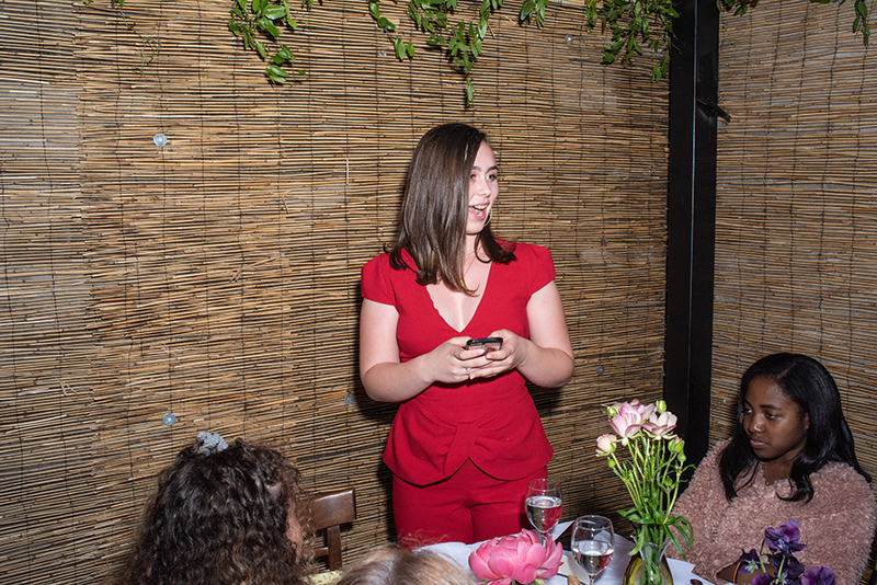 Groom's teen daughter makes a speech at a Brooklyn Bistro wedding shot by NYC Wedding photographer Angela Cappetta