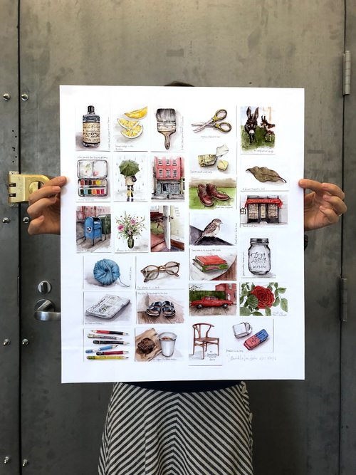 Illustrations offered on a poster by Samantha Dion Baker.