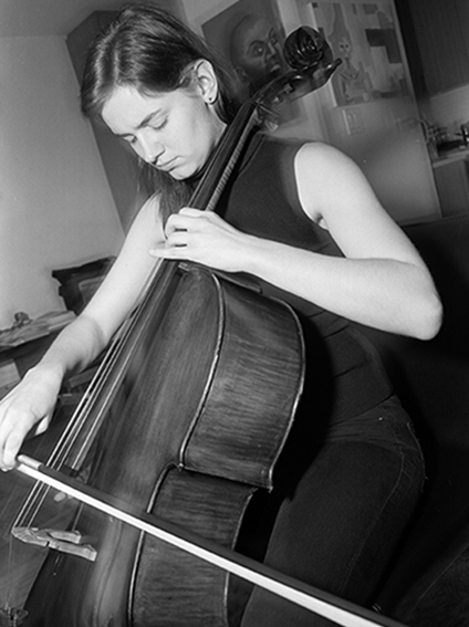 Young cellist shot with black and white, medium format film, by NYC portrait photographer Angela Cappetta.
