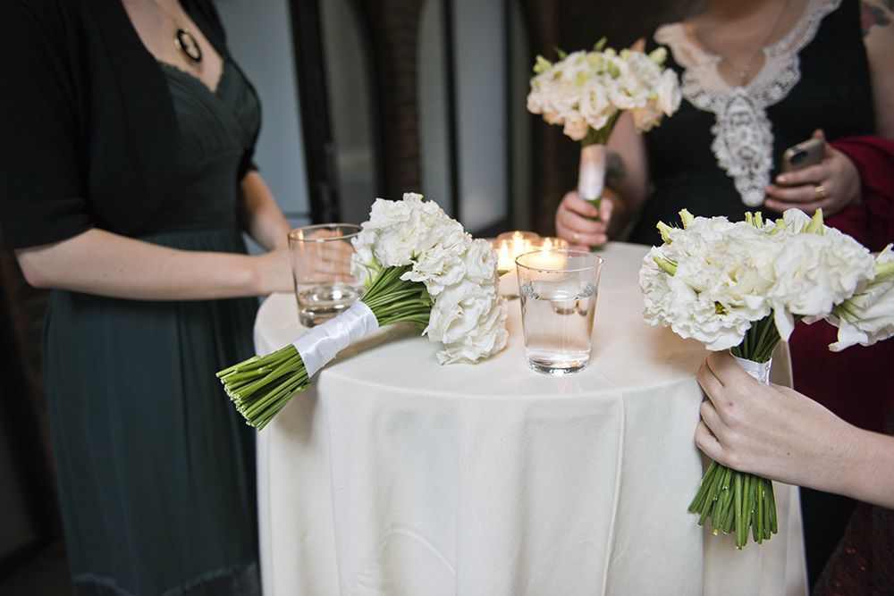 Bridesmaids gather at a wedding at the Foundry LIC shot by NYC wedding photographer Angela Cappetta